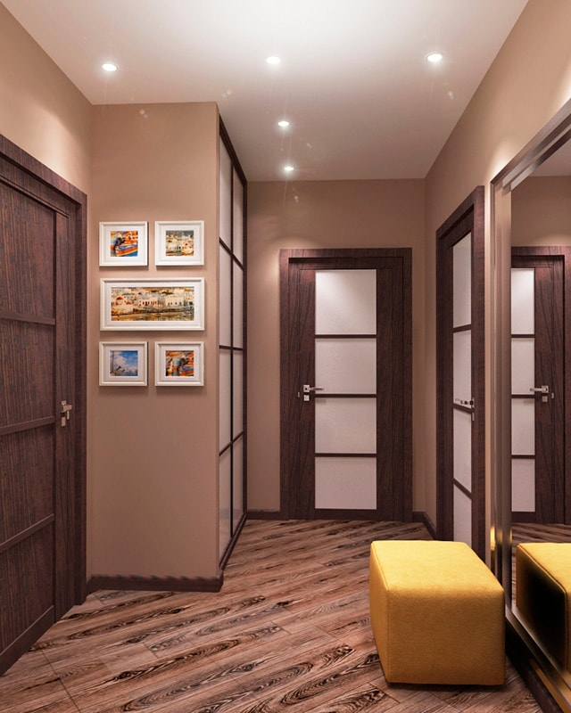 Расположение светильников в узком коридоре
